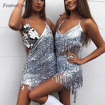 Mermaid Sequin and Fringe Tassel Mini Dress (7 Colors)