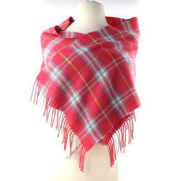 VONE05 Burberry Pink Salmon Yellow Gray Check Merino Wool Scarf Long Skinny Fringe AUTH
