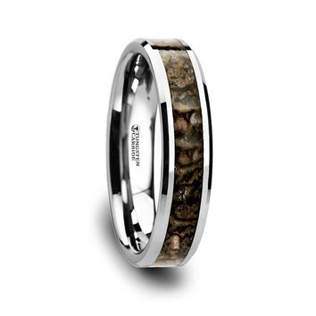 Authentic Brown Dinosaur Bone Inlay Tungsten Wedding Ring