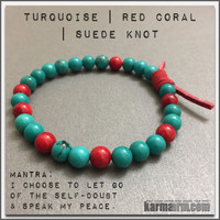 CONFIDENCE: Turquoise | Red Coral | Yoga Chakra Bracelet