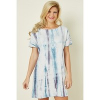 Free Moment Blue Tie Dye Dress