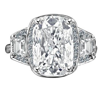 3.5CT. Intensely radiant Cushion Diamond Veneer Cubic Zirconia set in 14K Solid Gold Setting Ring with Side Tapered Baguettes. 635R71567k