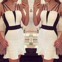 White and Black Strappy Fishtail Mini Dress