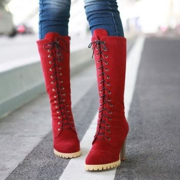 PEAPIX3 Punk Style Lace up High Heel Boots Red = 1945721796