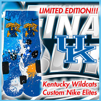 Limited Edition UK Kentucky Wildcats Custom Nike Elite Socks
