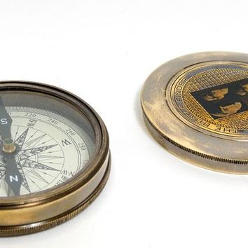 Beetles Compass w leather case Hancrafted Nautical Decor
