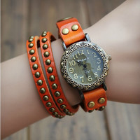 Handmade Big Round Dial Leather Wrap Watch with Rivet 126