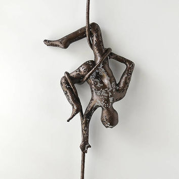 Acrobat on aerial rope, Circus acrobat sculpture, Sports decor, home design, metal wall art