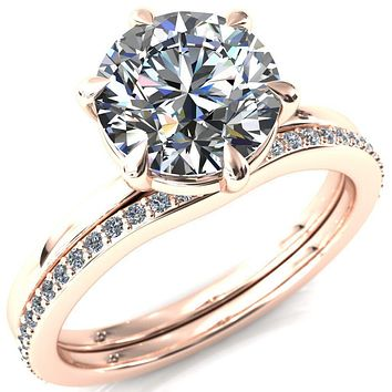 Lyla Round Moissanite 6 Claw Prong Solitaire Ring