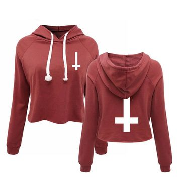 Inverted Cross Cropped Print Hoodie