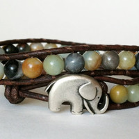 Elephant Leather Wrap Bracelet, Good Luck Charm, Flower Amazonite Wrap Bracelet, Chan Luu Style, Roll Tide, Bama