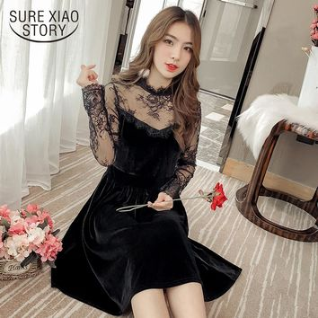 new arrived 2018 spring dress women fashion  sexy lace  velvet dress female  thin A -line long sleeved dress D443 30