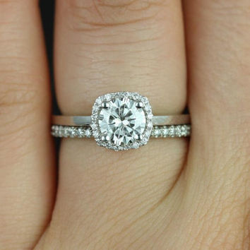 Bella 6mm & Catalina 14kt White Gold Round FB Moissanite and Diamonds Cushion Halo Wedding Set (Other metals and stones available)