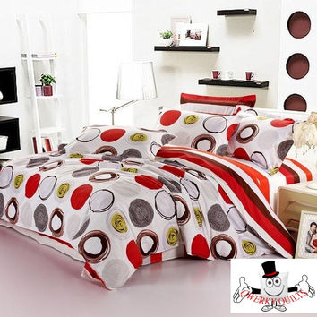 Red White Circles Bedding Set and Quilt Cover