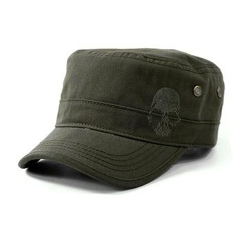 Skull Flat Top Embroidered Hat
