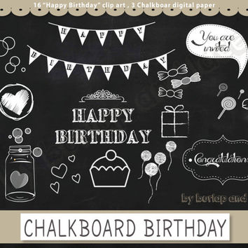Chalkboard Happy Birthday clip arts and chalkboard digital paper pack, chalkboard clipart, chalkboard happy birthda