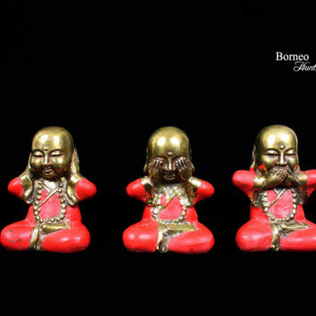 "Three Wise Little Buddhas 4-4.25"" Brass Buddha Figurines from Java (set of 3)Aged Brass Buddhism/ Mind, Speech And Action Art Statuette"