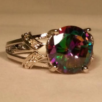 Tophatter : 7,8, Big Round Mystic Topaz Silver Plated Ring