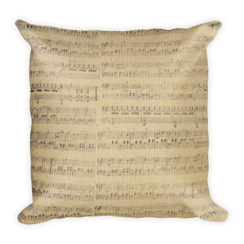 Vintage Music Note Decorative Pillow