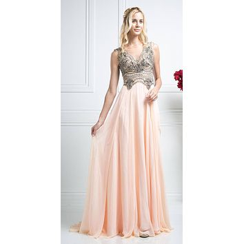 Illusion Back Beaded Long A-line Formal Dress Peach