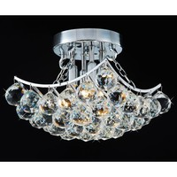 Indoor 4-Light Chrome & Crystal Flushmount Chandelier