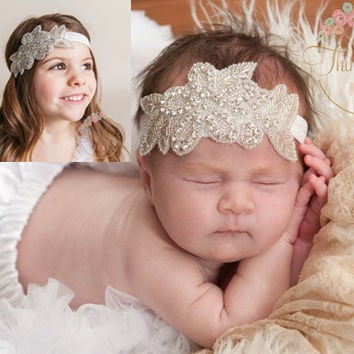 1PCS Retail Cute Kids Baby Girls headbands Rhinestone flowers with leaves Headbands children hair accessories td23