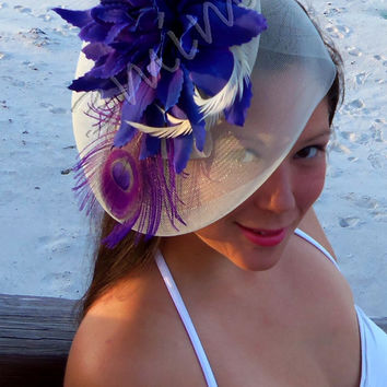 Bridal Headpiece- Crème Wedding Hat- Peacock Feather Wedding Hat- Hair Fascinator