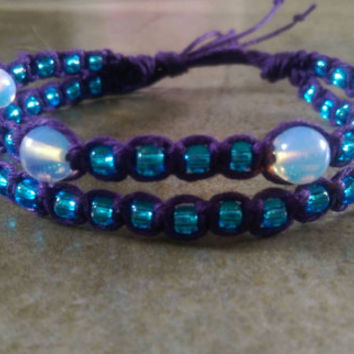 Double Hemp Bracelet, Spring, Purple, Adjustable Slip Knot, Opalite, Hemp, Gift for Her, Summer Jewelry, Free USA Shipping