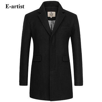 Men's Slim Fit Business Casual Long Wool Coats Male Warm Winter Jackets Pea coats Outerwear Overcoats