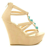 Jacky-15 Turquoise Strappy Wedge Platform Heel - Cutesy Originals