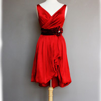 Red Party Dress, Short Silk Charmeuse and Velvet -- Rocio Style