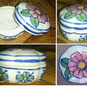 Mexican Porcelain Jeweler, Jewelry box, Alhajero Flower, Jewelry Organizer Storage, Ring Dish, Trinket box