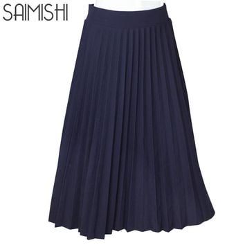 Women Skirts High Quality Spring Summer Style Women's High Waist Pleated Length Skirt Hot Fashion Thick Breathble
