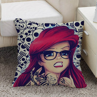 The Little Mermaid tattoo Pillow case size 16 x 16, 18 x 18, 16 x 24, 20 x 30, 20 x 26 One side and Two side