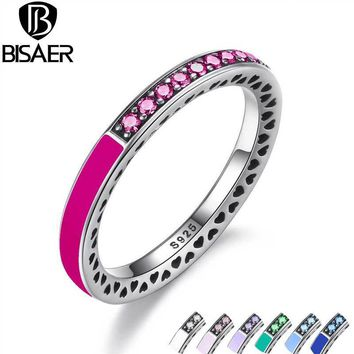 BISAER 925 Sterling Silver Radiant Hearts,Radiant Orchid Enamel & Cerise Crystals Ring for Women Engagement Jewelry WEU7618