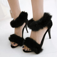 Faux Fur Ankle Strap Single Sole Stiletto Sandals