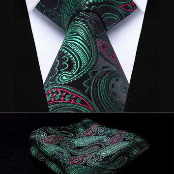 "Party Wedding Classic Pocket Square Tie TP932G8S Green Red Paisley 3.4"" Silk Woven Men Tie Necktie Handkerchief Set"