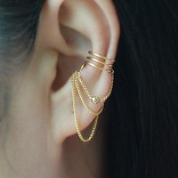 3 band with Chain & ball Ear cuff, Ear Jacket, Ear Wrap,No Piercing Cartilage Ear Cuff