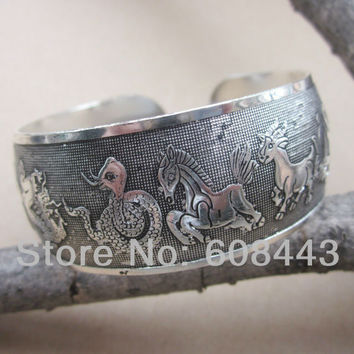 BR122 WIDE Zodiac 12 CHINESE Constellation Metal Tibetan Silver vintage retro Cuff Bracelet Bangle gift  for her