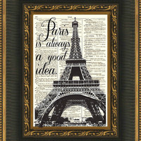 115 Year old Page Book Art, Audrey Hepburn Quote, Paris is Always a Good Idea, Inspirational Art Print, Wall Decor, Art Print
