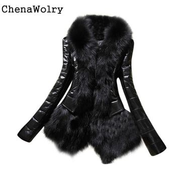 Winter Casual Long Sleeve New Designer Women Warm Fur Collar Coat Leather Thick Jacket Overcoat Parka Free Shipping D 6