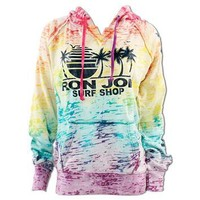 Ron Jon Rainbow Palm Tree Burnout Hoodie - Women, Fleece