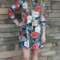 Grow with Love Floral Sweater Dress in Navy Blue