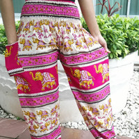 Pink Elephant Print Trousers Yoga Harem Pants Hippie Clothing Baggy Boho Style Gypsy Tribal Comfy Cloth For Beach Summer Unisex elegant Thai