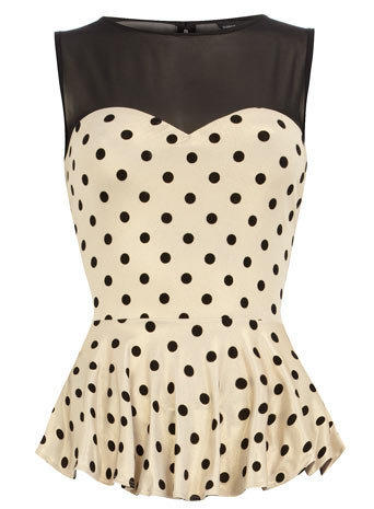 Black flocked spot peplum top - View All New In   - What's New