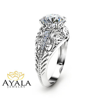 2 Carat Moissanite Engagement Ring in 14K White Gold Filigree Design Alternative Ring Art Deco Engagement Ring