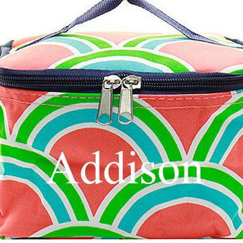 Monogrammed Cosmetic Bag  Coral Scallop Cosmetic Bag  Monogrammed Makeup Bag