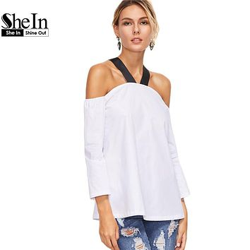 SheIn White Women Blouse Color Block Cold Shoulder Long Sleeve Sexy Shirt Women Tops and Blouses Contrast Strap Top