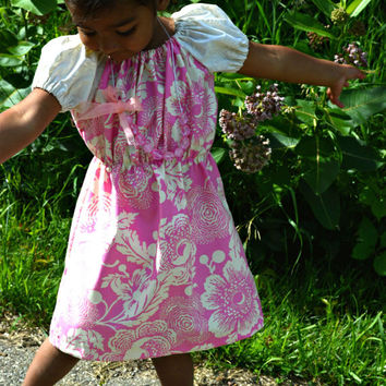 Little Girl Floral Pink and Ivory Tunic or Dress with Cap Sleeves - Pink Designer American Fabric with Floral Ivory Sleeves - Choose Size
