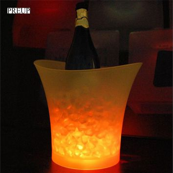 PREUP 5L Waterproof Plastic LED Wine Ice Bucket Color Changing LED Light Up Champagne Beer Bars Bucket Night Party